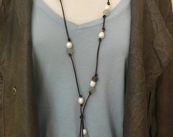 Long Recycled African Glass Bead and Freshwater Pearl Tassel Necklace