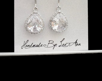 Cubic Zirconia earrings - Clear - Teardrops - Sterling silver ear wires - LUX - Bridal jewelry - High end - Bridesmaids gifts -