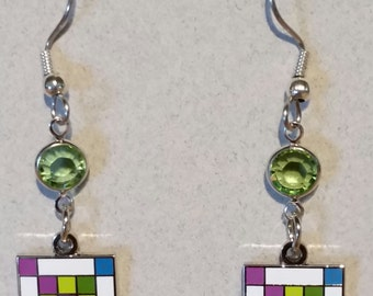 Quilter's Earrings Enameled Cloisonne COLORFUL IRISH CHAIN Quilt Block with Swarovski Bling!