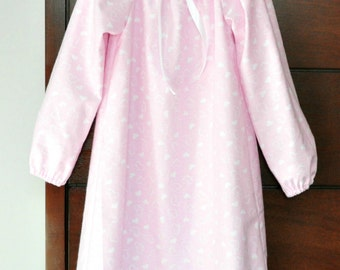 Girls Pink Hearts Cotton Flannel Old Fashioned Nightgown Sz 4 4t 5 5t 4/5 READY to SHIP