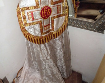 Antique clergy vestment dress church priest cope robe French artdeco casel casula religious vestment, IHS embroidery, satin brocade w trim