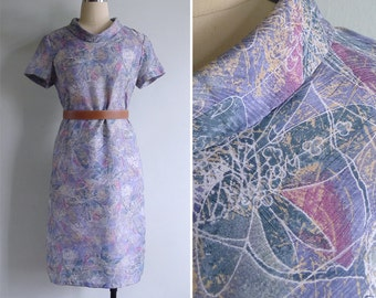 Vintage 60's Lilac Leaf Print Jackie O Collar Mod Dress S or M