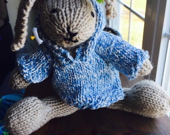 Hand knit bunny with hoodie