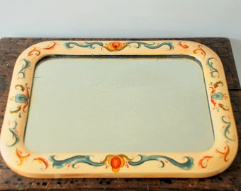 SALE Antique 1920 Hand-Painted Mirror with Wood Frame