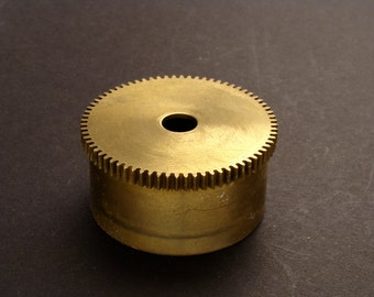 Large Brass Cylinder Gear, Mainspring Barrel from Vintage Clock Movement, Vintage Clockwork Mechanism Parts, Steampunk Art Supplies 03866