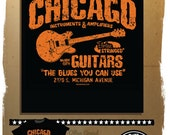 Chicago Blues guitar shop t-shirt from mojohand.com - Blues fans will love this shirt
