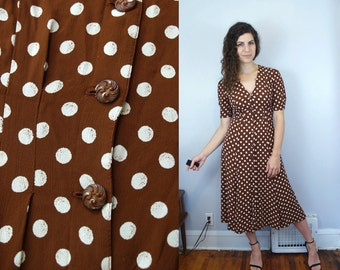 1990s does 1940s Vintage Brown and White Polka Dot Short Sleeve Sleeved Button-Down Midi Dress / Knee Length V-Neck Dress / Small S Medium M
