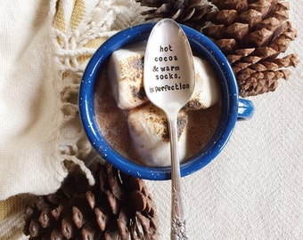Hot cocoa and warm socks. Perfection. Hand Stamped Spoon. Christmas & Holiday gift. Perfecting stocking stuffer idea.