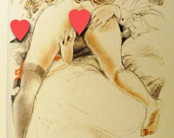 MATURE... Night In Paris... Instant Digital Download... 1920's Vintage Art Deco Erotic Art Image by Lovalon