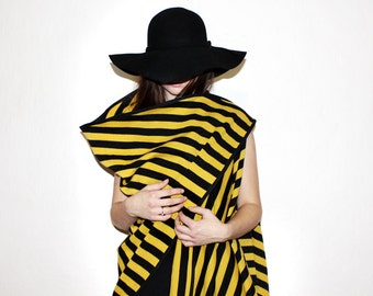 Asymmetrical Sweater Vest, Black Striped Knit Vest, Oversized Sleeveless Top, Avant Garde Asymmetric Cardigan, Knitted Yellow Stripes Vest