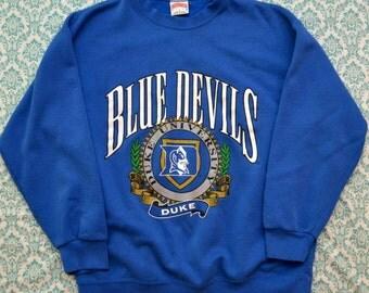 Vintage 90s DUKE University Blue Devils Crewneck Sweatshirt Made in USA