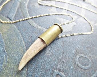 deer antler necklace- deer antler bullet necklace - deer antler jewelry