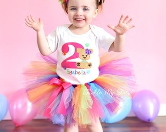 Puppy Paw-ty Birthday Tutu Outfit-Puppy Themed Birthday Tutu Set-Dog Themed Birthday Tutu Set (Bow NOT Included)