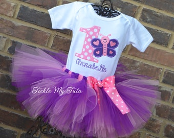 Butterfly Themed Birthday Tutu Outfit-Butterfly Birthday Outfit-Butterfly Party Outfit-First Birthday Butterfly Tutu Outfit