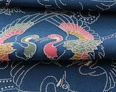 Kimono Silk, Kimono Fabric, Japanese Kimono, Blue Material, Silk Chirimen Crepe