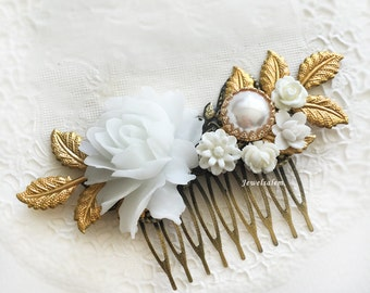 White Wedding Bridal Hair Comb Vintage Style Flower Hair Slide with Gold Leaves Romantic Victorian Headpiece Hair Adornment JW