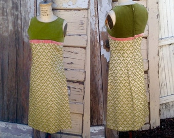 60s Vintage Mod Day Dress / Mad Men / Pixie / Avocado Green and Pink / XS