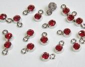 20 Tiny Ruby Red Rhinestone Crystal Drops silver finish charms 8x5mm DB20418R