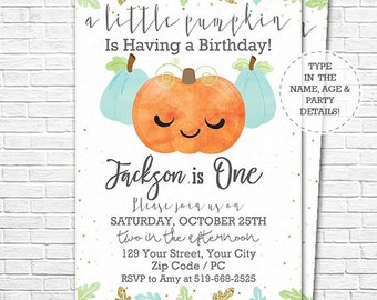 Blue Pumpkin Birthday Party Invitation - A Little Pumpkin 1st Birthday - Watercolor Pumpkin Invitation - Download & Edit in Adobe Reader