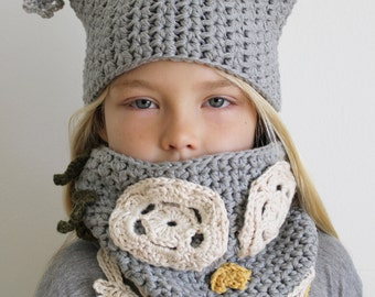 Crochet Pattern: Luna the Owl Hat and Cowl Set-Toddler, Child, & Adult Sizes-owl, dress-up, costume, hat, feather, cowl