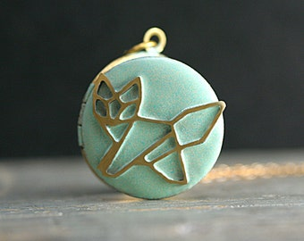 Small fox locket necklace. Light turquoise enameled locket with origami style fox. Short golden brass necklace. Locket necklace for her.