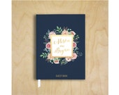 Wedding Guest Book Personalized Navy Guest Book Wedding Notebook Floral Custom Guestbook Wedding Memory Book Wedding Faux Gold Foil Sign In