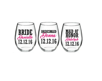 Bachelorette -  Bachelorette Party - Bride - Bridesmaid - Maid of Honor Gifts 21 oz stemless wine glasses