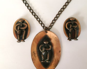 Vintage 1960s Genuine Copper Oval Necklace and Matching Earrings Set Abstract People Beatnik Era