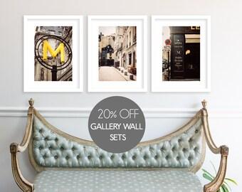 Gallery Wall Set, Save 20%, Paris Photography Collection, Paris Prints, Large Wall Art, Print Sale, Paris Cafe, Metro, Travel Photography