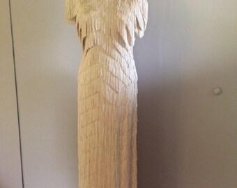 Vintage 1920s fringe dress . 1920s fringe wedding dress Downton Abbey