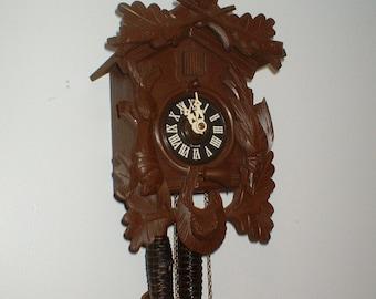 Beautiful Restored 1 Day Hunters German Black Forest Cuckoo Clock, Fully Serviced, Regula Movement Professionally Serviced, Runs Great