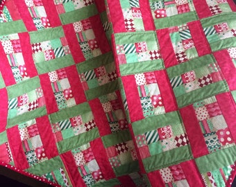 """Red, Green and Ultra Modern Are All Together In This 38"""" X 46"""" Quilt of Christmas"""