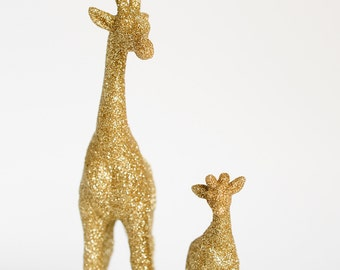 Giraffes, New Mom and Baby Set. Safari Gold Glitter Critter Keepsake Unisex Jungle Baby Showers, Nursery Decor, Birthday Party Cake Toppers