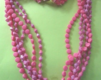 Vintage Mod 1960's Mutli Strand Pink and Purple Necklace Multi Strand Vintage Costume Jewelry Plastic Beads