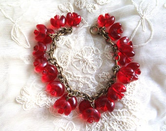Red Glass Czech Charm Bracelet Czechoslovakia Vintage Costume Jewelry Flower Beads Chain Beaded MoonlightMartini