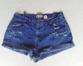 Boho shorts sz 10, high waisted Womens size 10 Shorts, vintage Faded Glory 1990s Jean Shorts, Trendy distressed denim high waisted cut offs