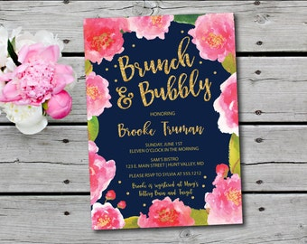 Champagne Brunch Invitation, Bubbly and Brunch Invitation,  Floral Bridal Shower Invitation, Printable Bridesmaids Luncheon