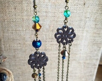 Peacock and Bronze Asymmetrical Dreamcatcher Boho Chic Earrings by Adrienne Adelle