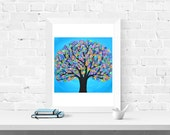 Blue Tree Wall Art Print - Blue Abstract Tree of Life Print - Unique Birthday or Mother's Day Gift - Giclee Print of Louise Mead Original