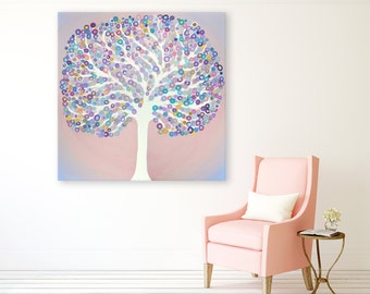 Pink Abstract Tree Painting by Louise Mead - 'Serenity' - Original Pink Square Abstract Tree Painting in Rose Quartz & Serenity