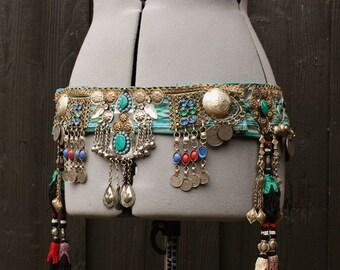 "Tribal Fusion Belt- 37""-44"" Adjustable Seamless Green Ikat Uzbek and Heavy Tribal Bellydance Belt"