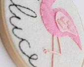 Flamingo Nursery Art. Baby Girl Name Sign, Personalized Decor, Pink Bird, Custom Baby Gift, Embroidery Hoop Art, Felt Applique Wall Hanging
