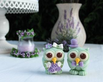 Wedding love bird cake topper, owl cake topper, bride and groom custom cake topper, rustic cake topper, lavender mint wedding with banner