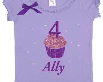 Girls 4th Birthday, #4, Cupcake Themed Party, Cupcake Party Shirt, 4th Birthday Shirt, Ruffle Shirt Sparkle Cupcake, Little Cupcake, Top