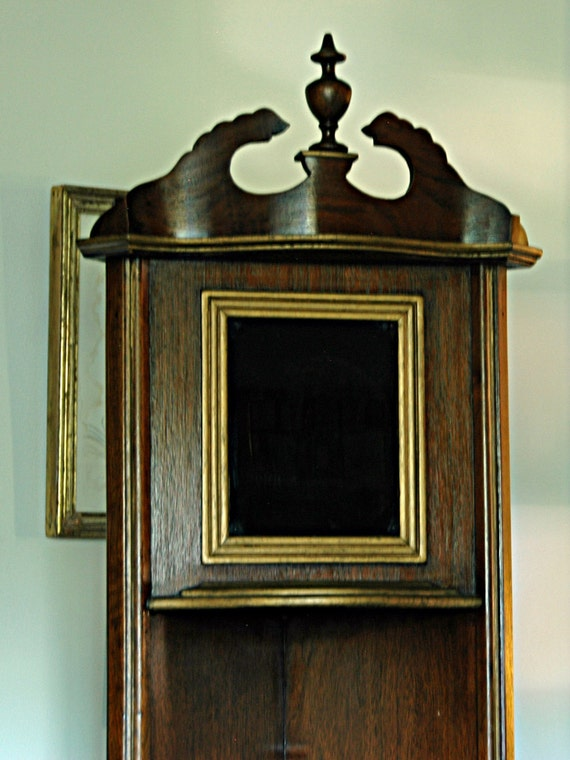 """Reduced: Vintage Small OPEN CORNER CUPBOARD 1930s Sturdy Wood Curio Shelves 5' 9 1/2"""" T x 11"""" Deep Each Side PickUp by Appnt No Shipping"""