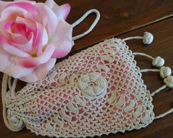 Vintage Hand-Crochet Bag with Bubblegum Pink Lining