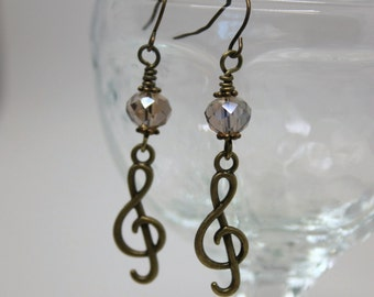 Bronze Musical Treble Clef Earrings - Band Jewelry, Music Jewelry, Music Lover Gift, Musician Gift, Gift for Music Teacher