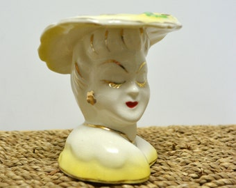 Vintage Lady Head Vase in Yellow / Small Head Vase with Hat