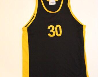 Vintage Basketball Vest Top -Sleeveless T-shirt -Mens -Sport - Retro Athletic - Black Yellow -30 - Tank