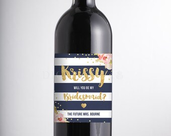 Will You Be My Bridesmaid? WINE LABEL Proposal Navy Stripe Pink Peonies Faux Gold Glitter Personalized Maid of Honor DIY or Printed- Krissy